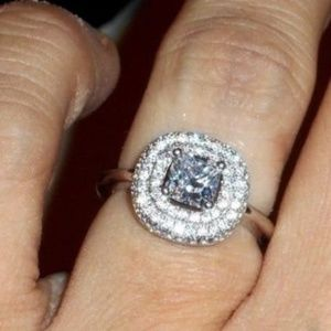Jewelry - 💎925 Sterling Silver Triple Halo Engagement Ring